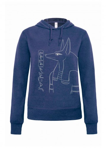 Damen Hoodie Anubis, dark heather blue, Aufdruck: silber