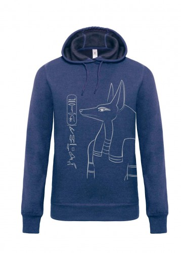 Herren Hoodie Anubis, dark heather blue, Aufdruck: silber