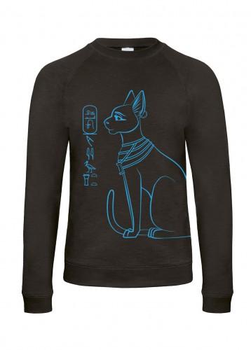Herren Sweatshirt Bastet, chic black, Aufdruck: saphirblau